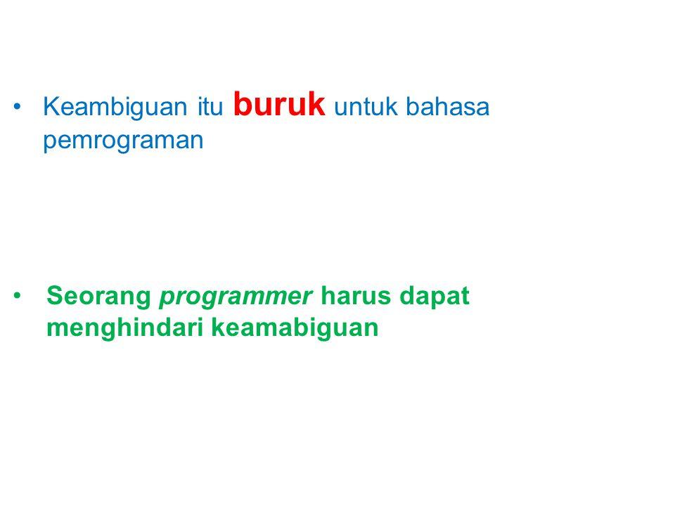 Seorang programmer harus dapat menghindari keamabiguan Keambiguan itu buruk untuk bahasa pemrograman