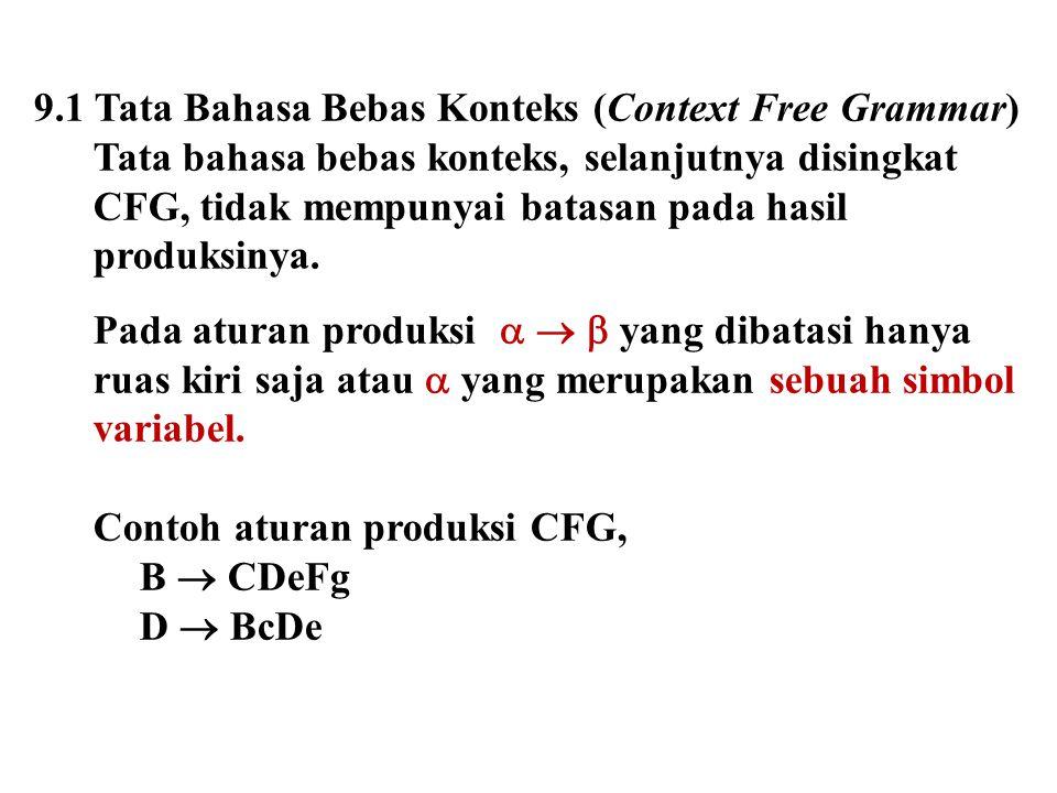 9.1 Tata Bahasa Bebas Konteks (Context Free Grammar) Tata bahasa bebas konteks, selanjutnya disingkat CFG, tidak mempunyai batasan pada hasil produksi