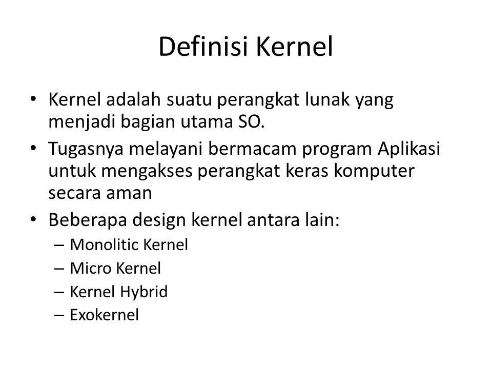 Definisi Kernel Kernel adalah suatu perangkat lunak yang menjadi bagian utama SO. Tugasnya melayani bermacam program Aplikasi untuk mengakses perangka