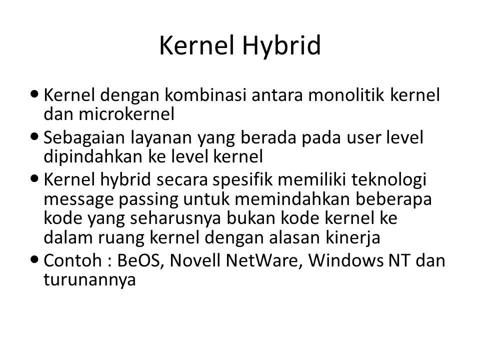 Kernel Hybrid Kernel dengan kombinasi antara monolitik kernel dan microkernel Sebagaian layanan yang berada pada user level dipindahkan ke level kerne