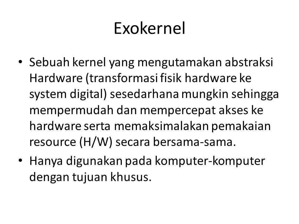 Exokernel Sebuah kernel yang mengutamakan abstraksi Hardware (transformasi fisik hardware ke system digital) sesedarhana mungkin sehingga mempermudah