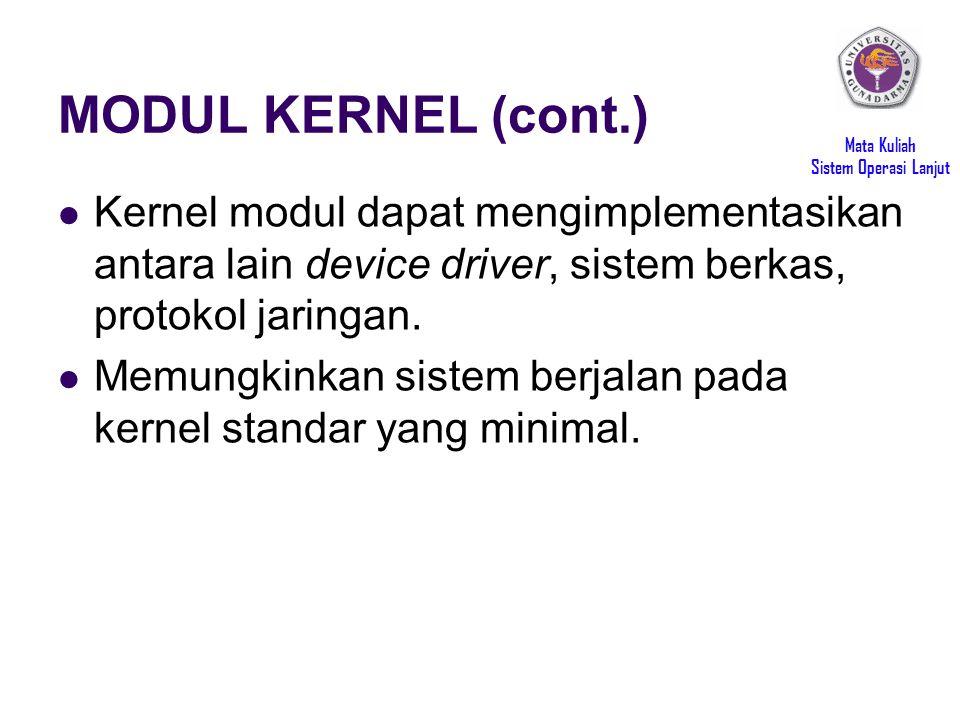 Mata Kuliah Sistem Operasi Lanjut MODUL KERNEL (cont.) Kernel modul dapat mengimplementasikan antara lain device driver, sistem berkas, protokol jaringan.