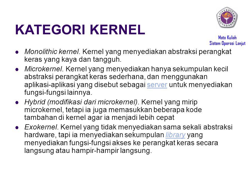 Mata Kuliah Sistem Operasi Lanjut KATEGORI KERNEL Monolithic kernel.