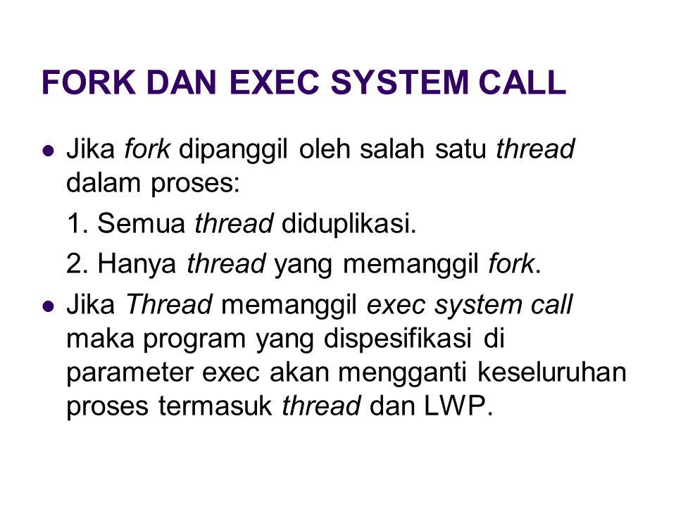FORK DAN EXEC SYSTEM CALL Jika fork dipanggil oleh salah satu thread dalam proses: 1.