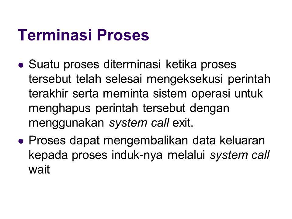 Terminasi Proses Suatu proses diterminasi ketika proses tersebut telah selesai mengeksekusi perintah terakhir serta meminta sistem operasi untuk menghapus perintah tersebut dengan menggunakan system call exit.
