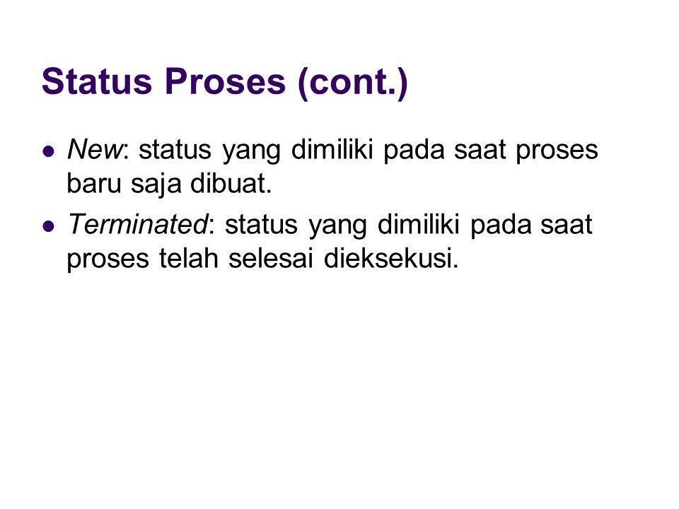 Status Proses (cont.) New: status yang dimiliki pada saat proses baru saja dibuat.