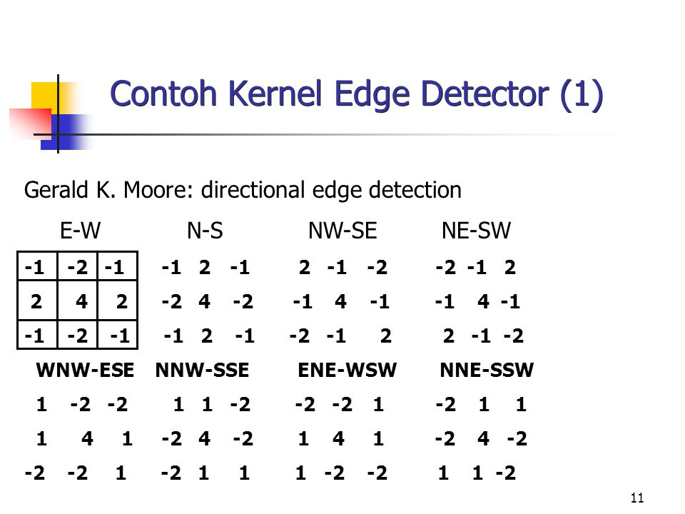 11 Contoh Kernel Edge Detector (1) Gerald K. Moore: directional edge detection E-W N-S NW-SE NE-SW -1 -2 -1-1 2-12 -1-2-2 -12 2 4 2-2 4 -2 -1 4 -1 -1