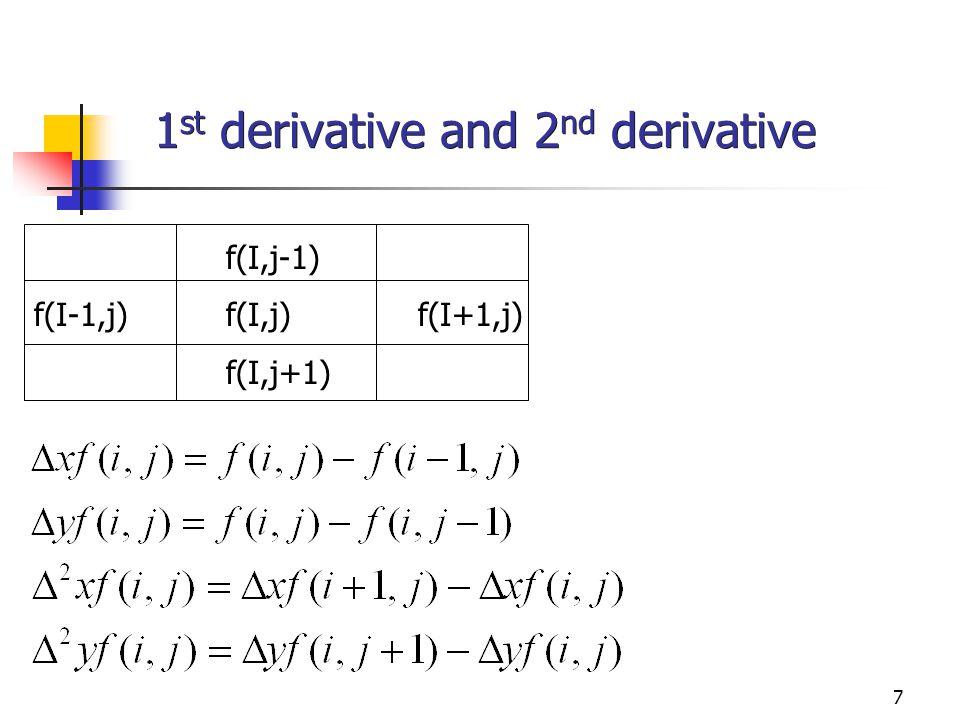 7 1 st derivative and 2 nd derivative f(I,j-1) f(I-1,j)f(I,j)f(I+1,j) f(I,j+1)