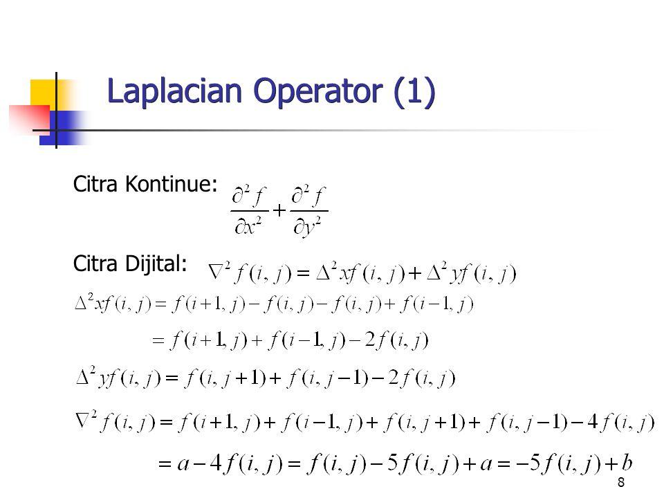 9 Laplacian Operator (2) g average menguatkan respon frekwensi rendah dan melemahkan respon frekwensi tinggi  (2g-g average ) akan menguatkan respon frekwensi tinggi relatif terhadap frekwensi rendah.