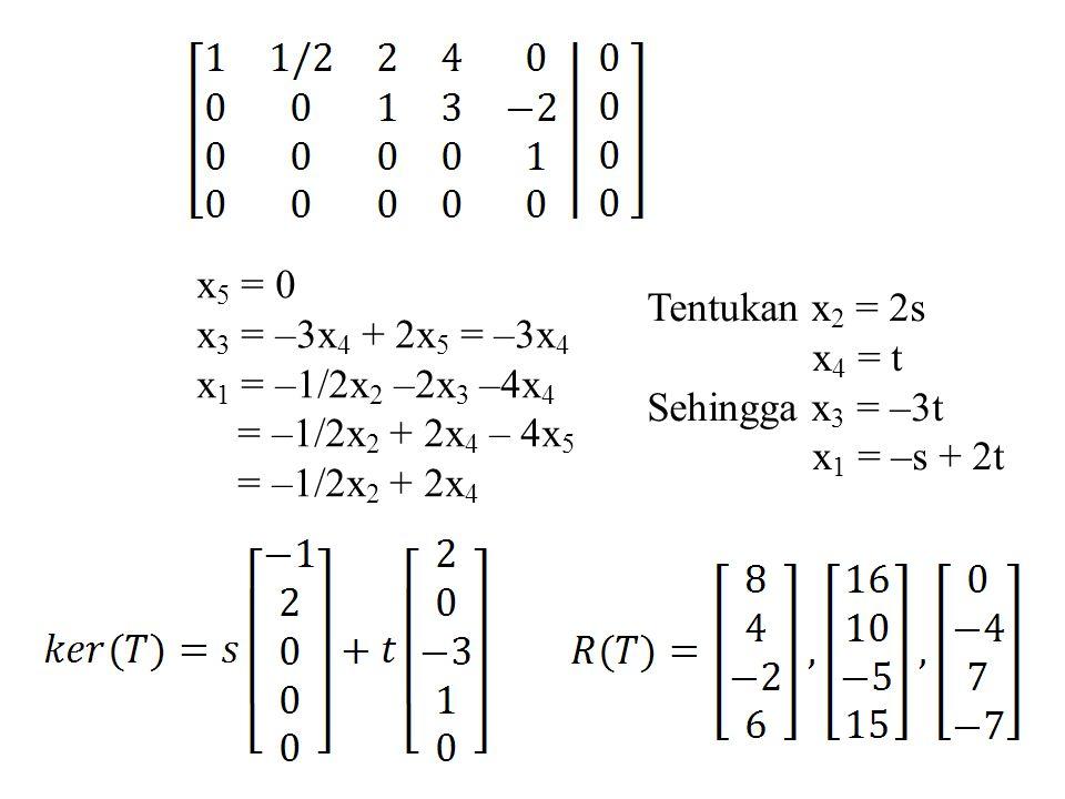x 5 = 0 x 3 = –3x 4 + 2x 5 = –3x 4 x 1 = –1/2x 2 –2x 3 –4x 4 = –1/2x 2 + 2x 4 – 4x 5 = –1/2x 2 + 2x 4 Tentukan x 2 = 2s x 4 = t Sehingga x 3 = –3t x 1