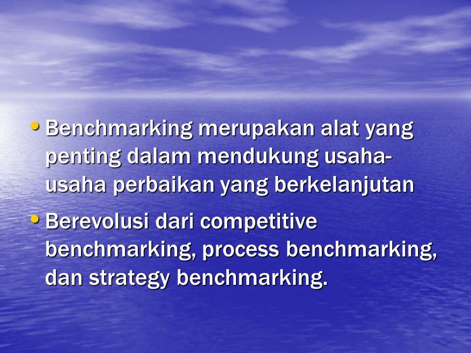 Benchmarking merupakan alat yang penting dalam mendukung usaha- usaha perbaikan yang berkelanjutan Benchmarking merupakan alat yang penting dalam mend