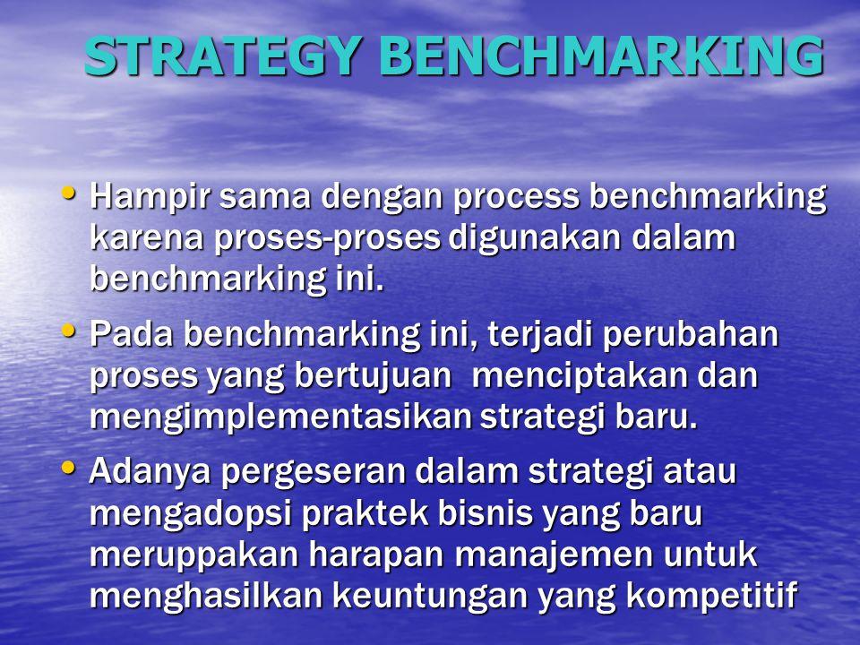 STRATEGY BENCHMARKING Hampir sama dengan process benchmarking karena proses-proses digunakan dalam benchmarking ini. Hampir sama dengan process benchm