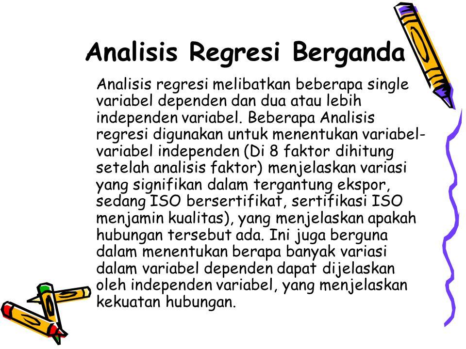Analisis Regresi Berganda Analisis regresi melibatkan beberapa single variabel dependen dan dua atau lebih independen variabel. Beberapa Analisis regr