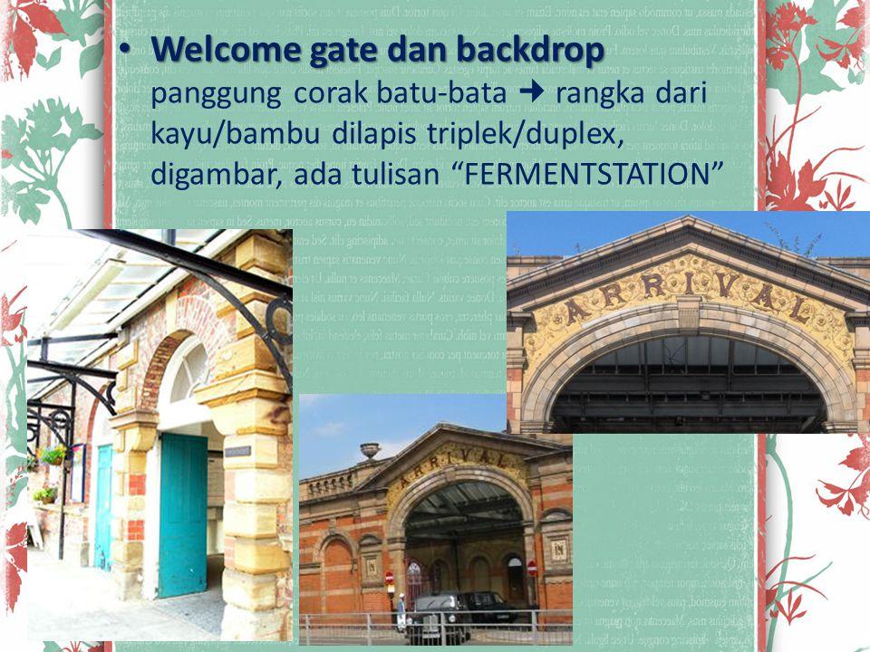 """Welcome gate dan backdrop Welcome gate dan backdrop panggung corak batu-bata rangka dari kayu/bambu dilapis triplek/duplex, digambar, ada tulisan """"FER"""