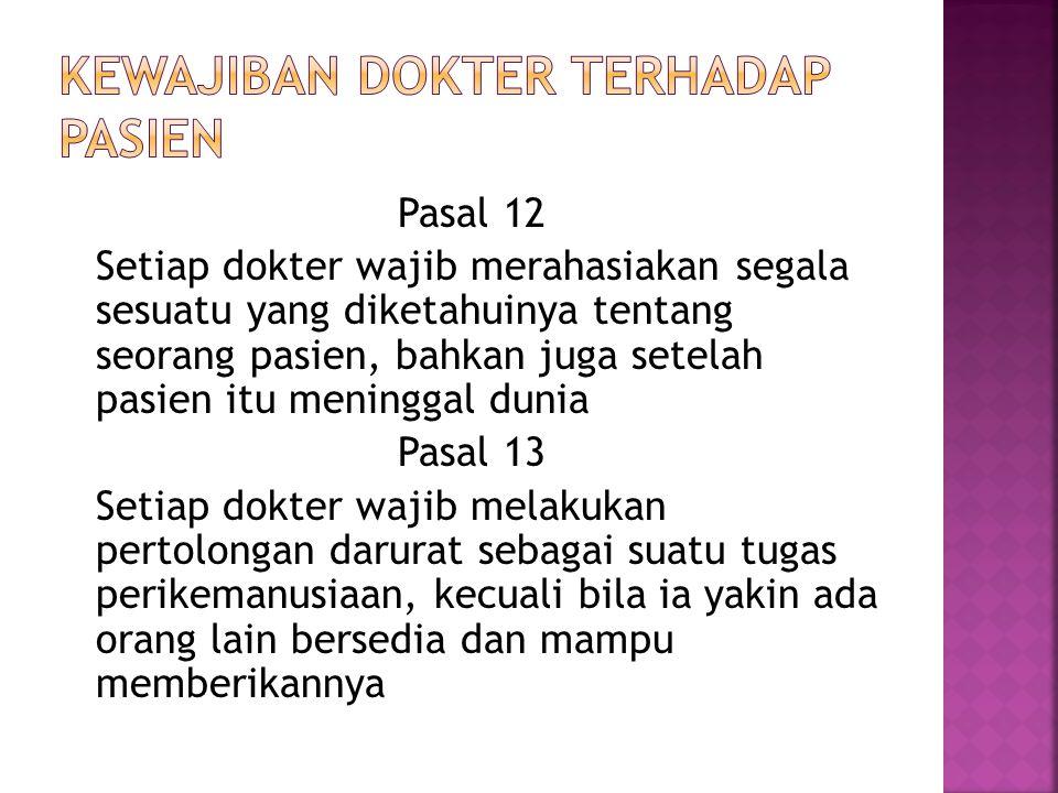Pasal 12 Setiap dokter wajib merahasiakan segala sesuatu yang diketahuinya tentang seorang pasien, bahkan juga setelah pasien itu meninggal dunia Pasa