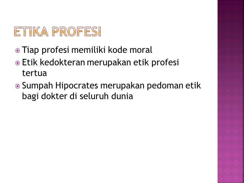  Tiap profesi memiliki kode moral  Etik kedokteran merupakan etik profesi tertua  Sumpah Hipocrates merupakan pedoman etik bagi dokter di seluruh d