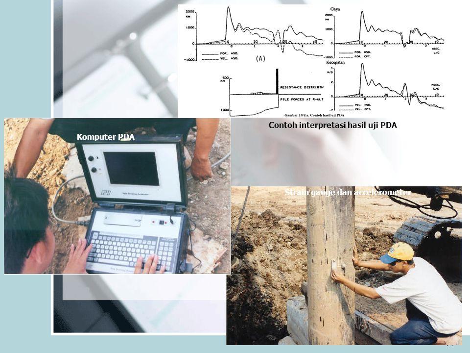 14 Strain gauge dan accelerometer Komputer PDA Contoh interpretasi hasil uji PDA