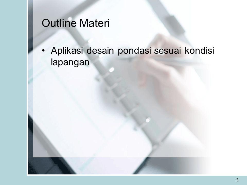 3 Outline Materi Aplikasi desain pondasi sesuai kondisi lapangan