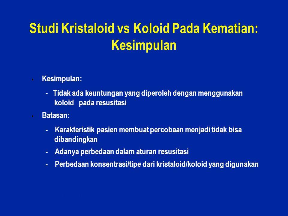 19 Studi Kristaloid vs Koloid Pada Kematian: Kesimpulan  Kesimpulan: - Tidak ada keuntungan yang diperoleh dengan menggunakan koloid pada resusitasi