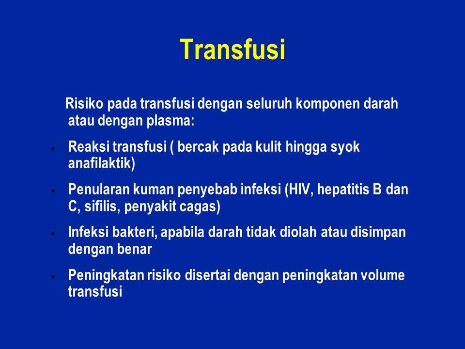 20 Transfusi Risiko pada transfusi dengan seluruh komponen darah atau dengan plasma:  Reaksi transfusi ( bercak pada kulit hingga syok anafilaktik) 