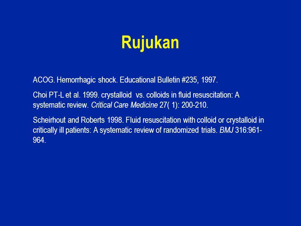 27 Rujukan ACOG. Hemorrhagic shock. Educational Bulletin #235, 1997. Choi PT-L et al. 1999. crystalloid vs. colloids in fluid resuscitation: A systema