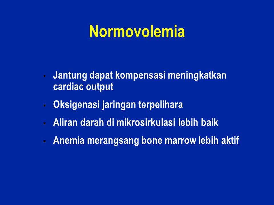 35 Normovolemia  Jantung dapat kompensasi meningkatkan cardiac output  Oksigenasi jaringan terpelihara  Aliran darah di mikrosirkulasi lebih baik 