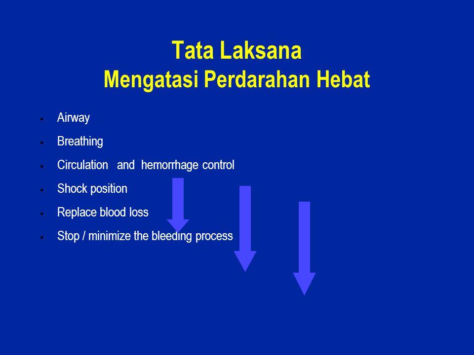 8 Tata Laksana Mengatasi Perdarahan Hebat  Airway  Breathing  Circulation and hemorrhage control  Shock position  Replace blood loss  Stop / min