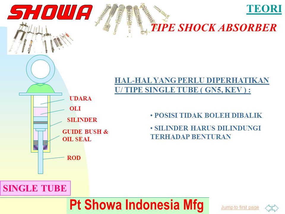Jump to first page Pt Showa Indonesia Mfg TEORI TIPE SHOCK ABSORBER SINGLE TUBE ROD SILINDER GUIDE BUSH & OIL SEAL OLI UDARA HAL-HAL YANG PERLU DIPERH