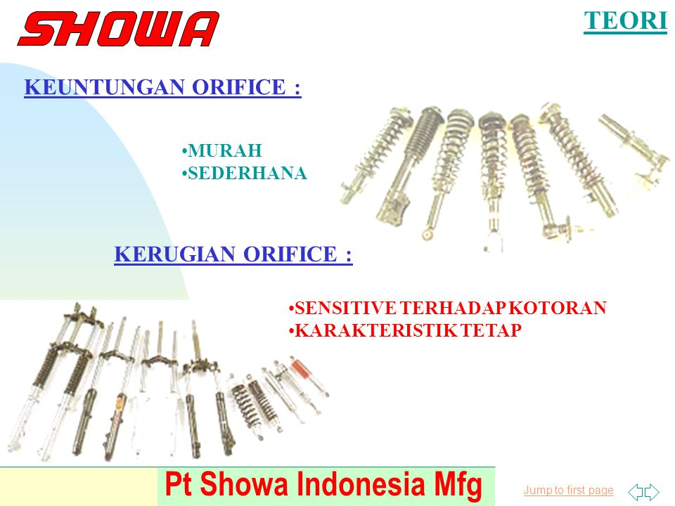 Jump to first page Pt Showa Indonesia Mfg TEORI OLI SHOCK ABSORBER SIFAT KHAS : * MENGANDUNG ANTI FOAM & ANTI BUBLE * MENGURANGI FRICTION JANGAN PAKAI OLI YANG KEKENTALANNYA TINGGI --------> GELEMBUNG UDARA SULIT HILANG