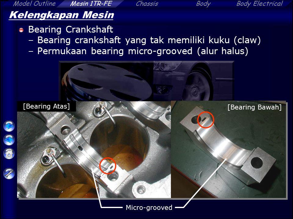 ChassisBodyBody ElectricalModel OutlineMesin 1TR-FE Kelengkapan Mesin Bearing Crankshaft –Bearing crankshaft yang tak memiliki kuku (claw) –Permukaan