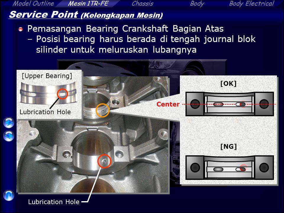 Model OutlineChassisBodyBody ElectricalMesin 1TR-FE Service Point (Kelengkapan Mesin) Pemasangan Bearing Crankshaft Bagian Atas –Posisi bearing harus