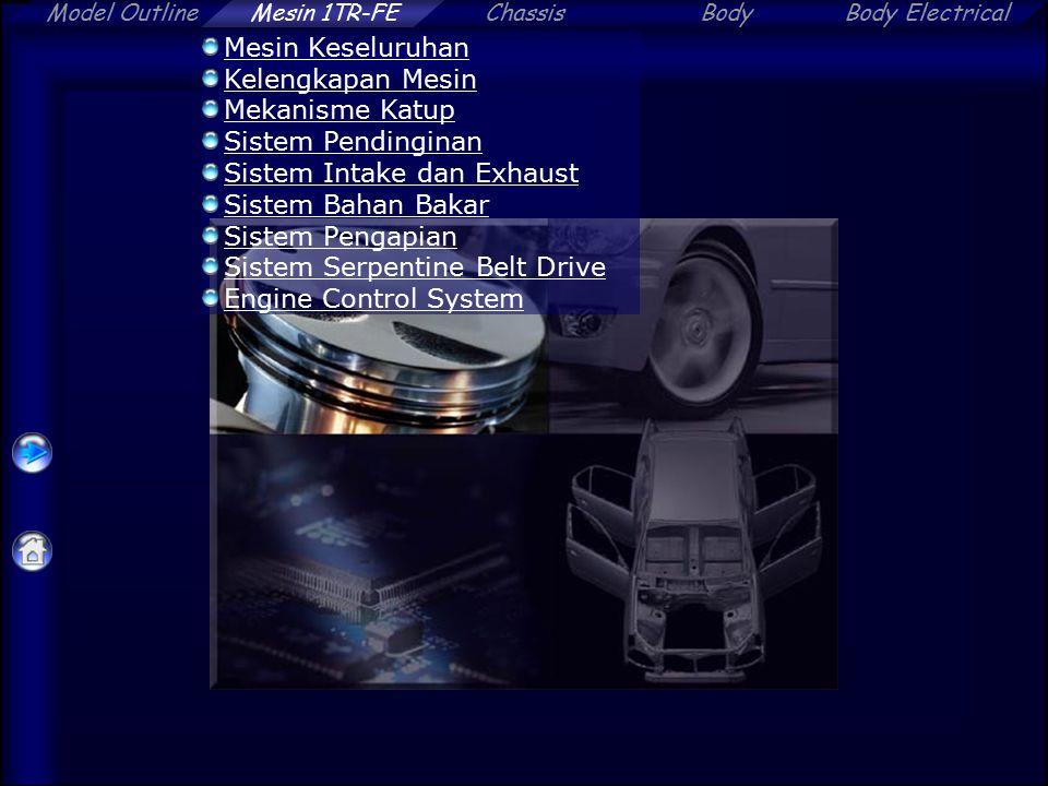 Model OutlineChassisBodyBody ElectricalMesin 1TR-FE Service Point (Engine Control System) Flat type knock sensor –Pasang knock sensor pada sudut tertentu (10°) Depan 10