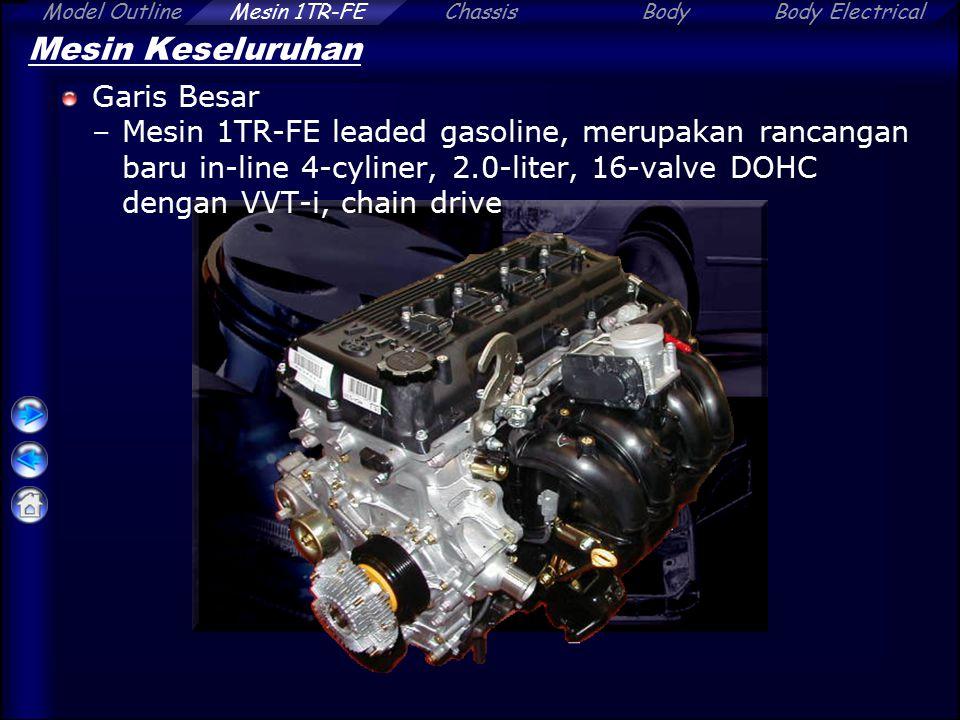 ChassisBodyBody ElectricalModel OutlineMesin 1TR-FE Mesin Keseluruhan Spesifikasi Mesin Model1TR-FE1RZ-E (KIJANG) Jumlah silinder & susunan4-cylinder, In-line  Mekanisme Katup 16-valve, DOHC with VVT-i, Chain Drive 8-valve, SOHC, Chain Drive Displacement[cm 3 (cu.