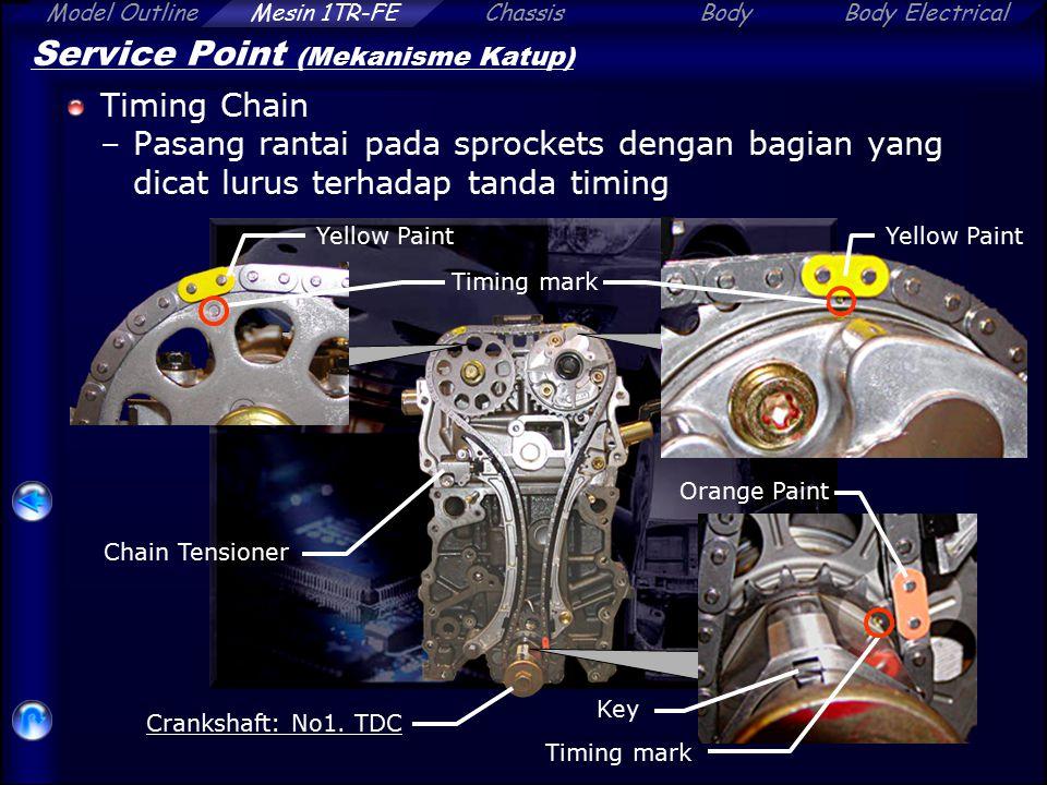 Model OutlineChassisBodyBody ElectricalMesin 1TR-FE Service Point (Mekanisme Katup) Timing Chain –Pasang rantai pada sprockets dengan bagian yang dica