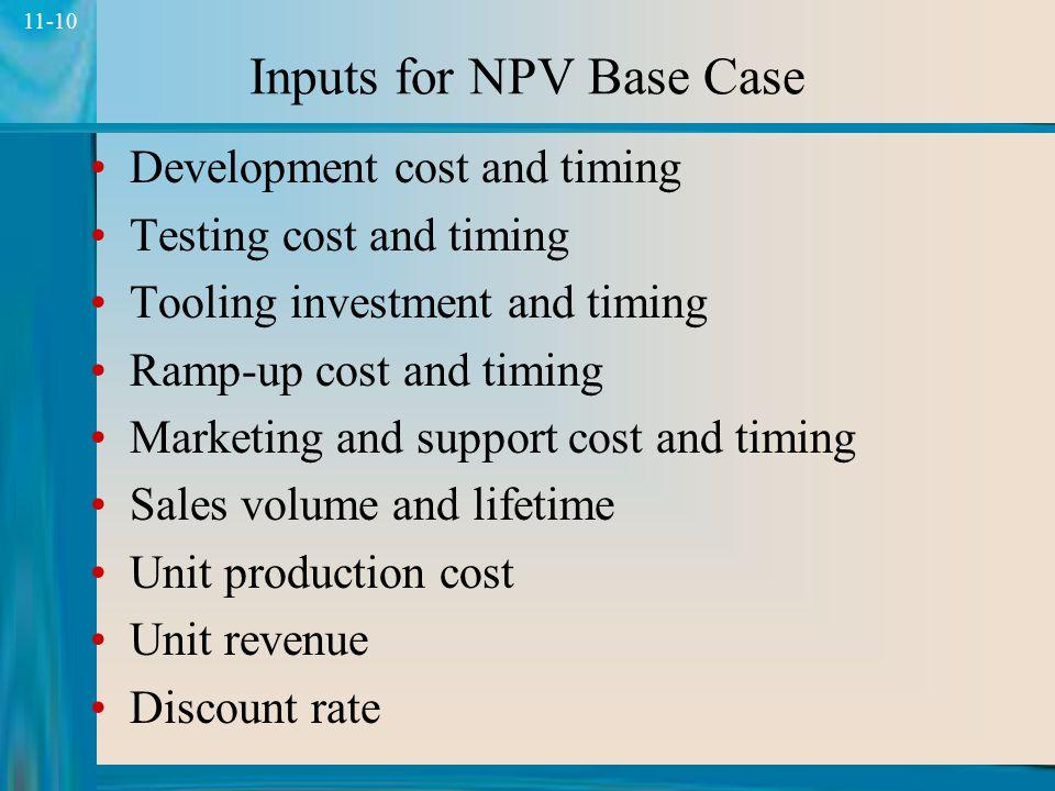 9 11-9 Net Present Value NPV = period cash flow (1 + discount rate) period periods  NPV = C (1 + r) i  N i i = 1