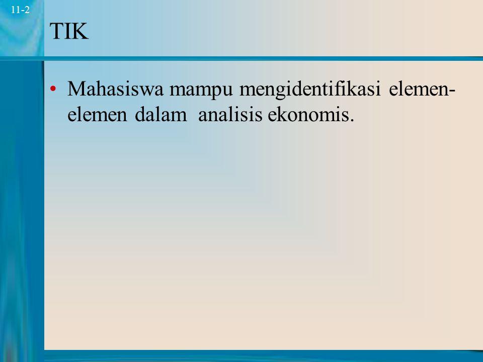 2 11-2 TIK Mahasiswa mampu mengidentifikasi elemen- elemen dalam analisis ekonomis.
