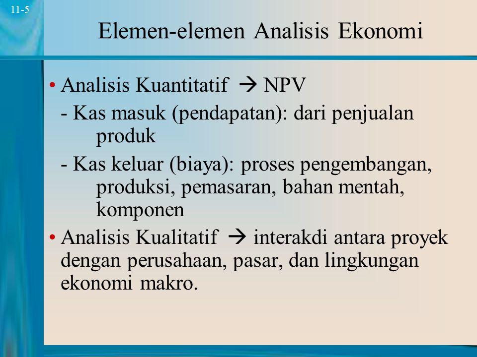 5 11-5 Elemen-elemen Analisis Ekonomi Analisis Kuantitatif  NPV - Kas masuk (pendapatan): dari penjualan produk - Kas keluar (biaya): proses pengembangan, produksi, pemasaran, bahan mentah, komponen Analisis Kualitatif  interakdi antara proyek dengan perusahaan, pasar, dan lingkungan ekonomi makro.