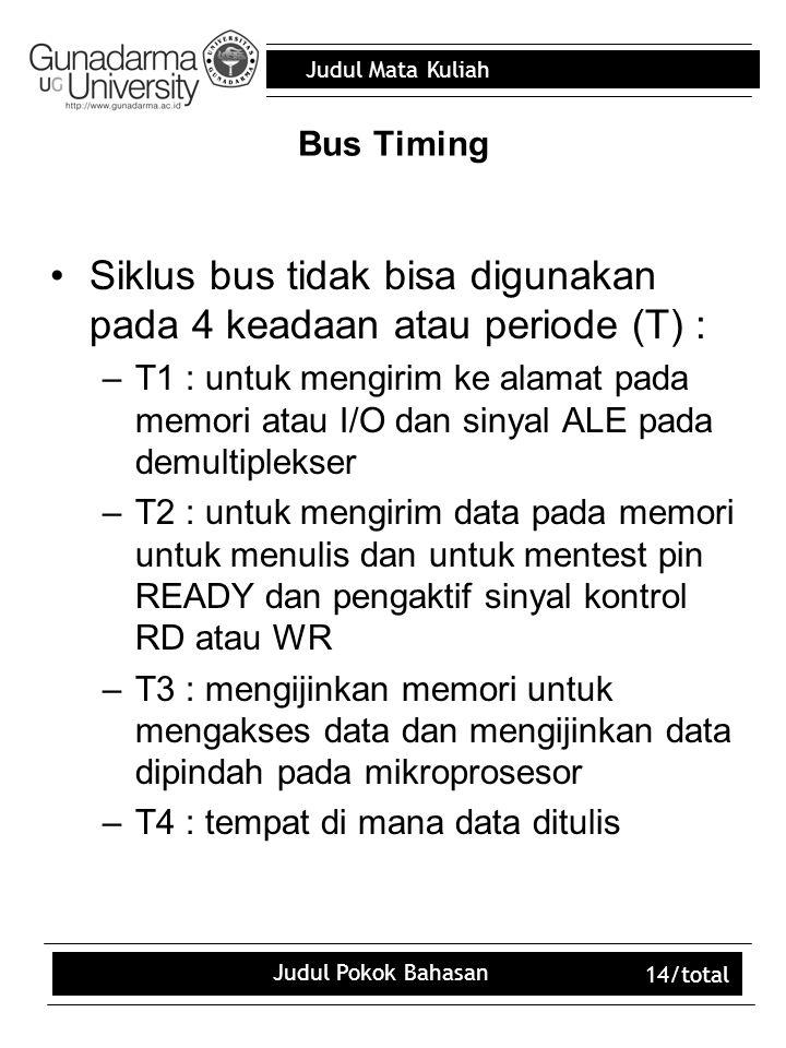 Judul Mata Kuliah Judul Pokok Bahasan 14/total Bus Timing Siklus bus tidak bisa digunakan pada 4 keadaan atau periode (T) : –T1 : untuk mengirim ke al