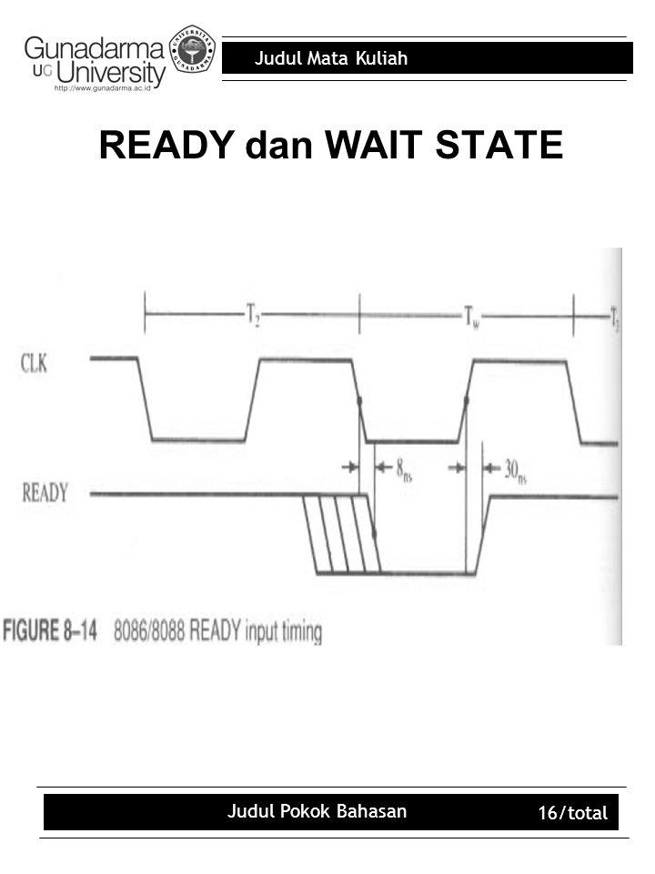 Judul Mata Kuliah Judul Pokok Bahasan 16/total READY dan WAIT STATE