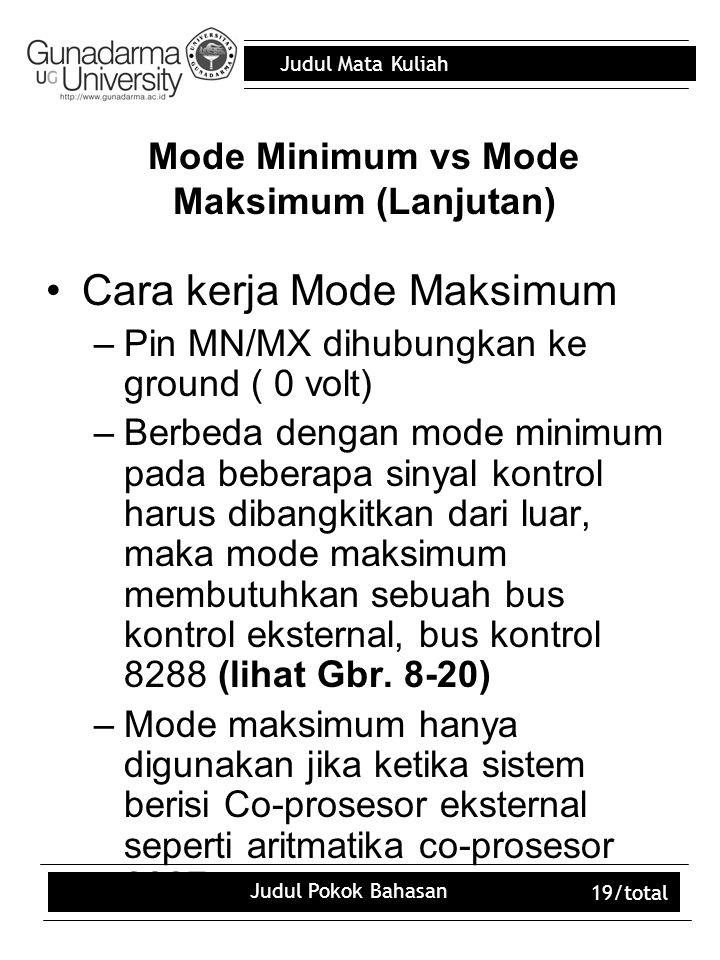 Judul Mata Kuliah Judul Pokok Bahasan 19/total Mode Minimum vs Mode Maksimum (Lanjutan) Cara kerja Mode Maksimum –Pin MN/MX dihubungkan ke ground ( 0