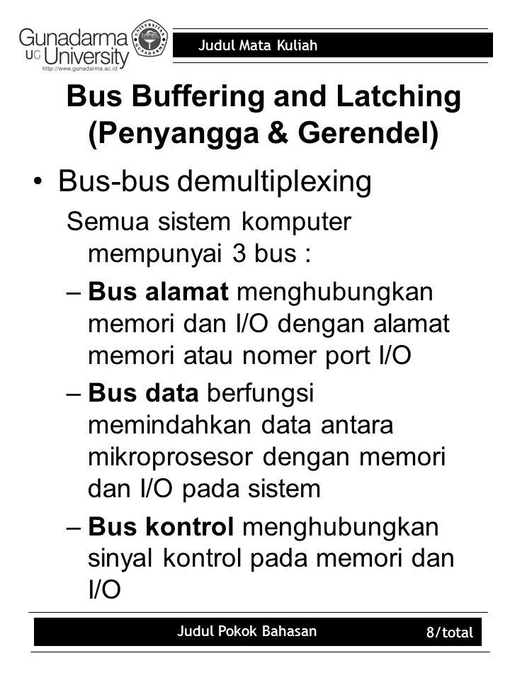 Judul Mata Kuliah Judul Pokok Bahasan 8/total Bus Buffering and Latching (Penyangga & Gerendel) Bus-bus demultiplexing Semua sistem komputer mempunyai