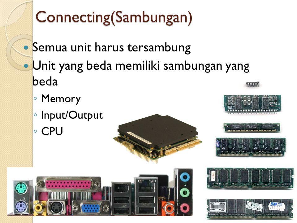 Connecting(Sambungan) Semua unit harus tersambung Unit yang beda memiliki sambungan yang beda ◦ Memory ◦ Input/Output ◦ CPU 25