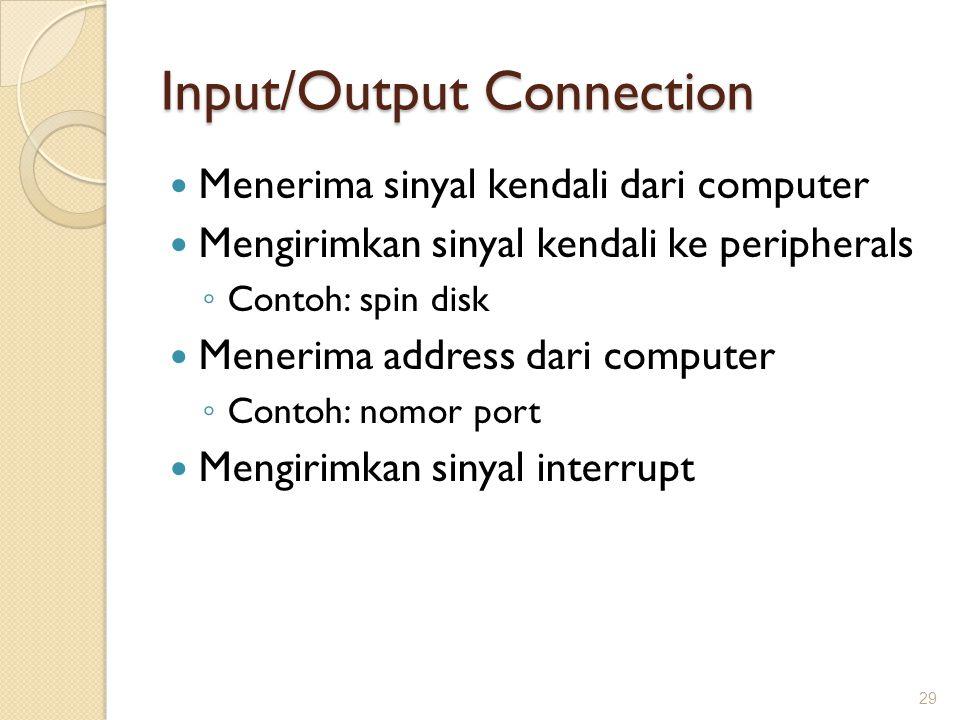 Input/Output Connection Menerima sinyal kendali dari computer Mengirimkan sinyal kendali ke peripherals ◦ Contoh: spin disk Menerima address dari comp