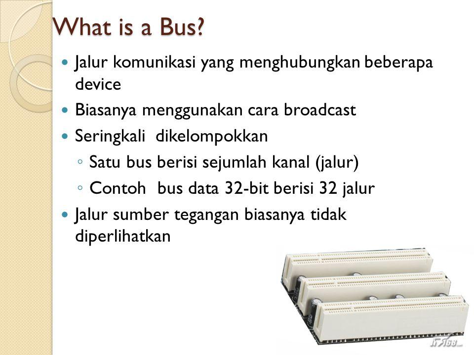 What is a Bus? Jalur komunikasi yang menghubungkan beberapa device Biasanya menggunakan cara broadcast Seringkali dikelompokkan ◦ Satu bus berisi seju