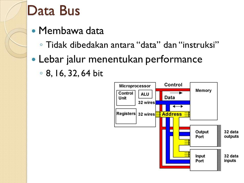 """Data Bus Membawa data ◦ Tidak dibedakan antara """"data"""" dan """"instruksi"""" Lebar jalur menentukan performance ◦ 8, 16, 32, 64 bit 34"""