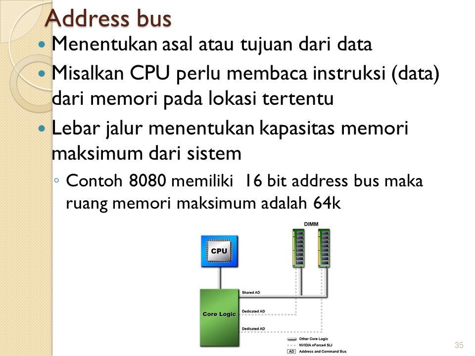 Address bus Menentukan asal atau tujuan dari data Misalkan CPU perlu membaca instruksi (data) dari memori pada lokasi tertentu Lebar jalur menentukan