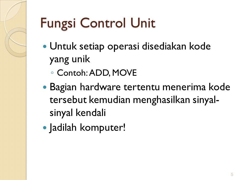 Fungsi Control Unit Untuk setiap operasi disediakan kode yang unik ◦ Contoh: ADD, MOVE Bagian hardware tertentu menerima kode tersebut kemudian mengha