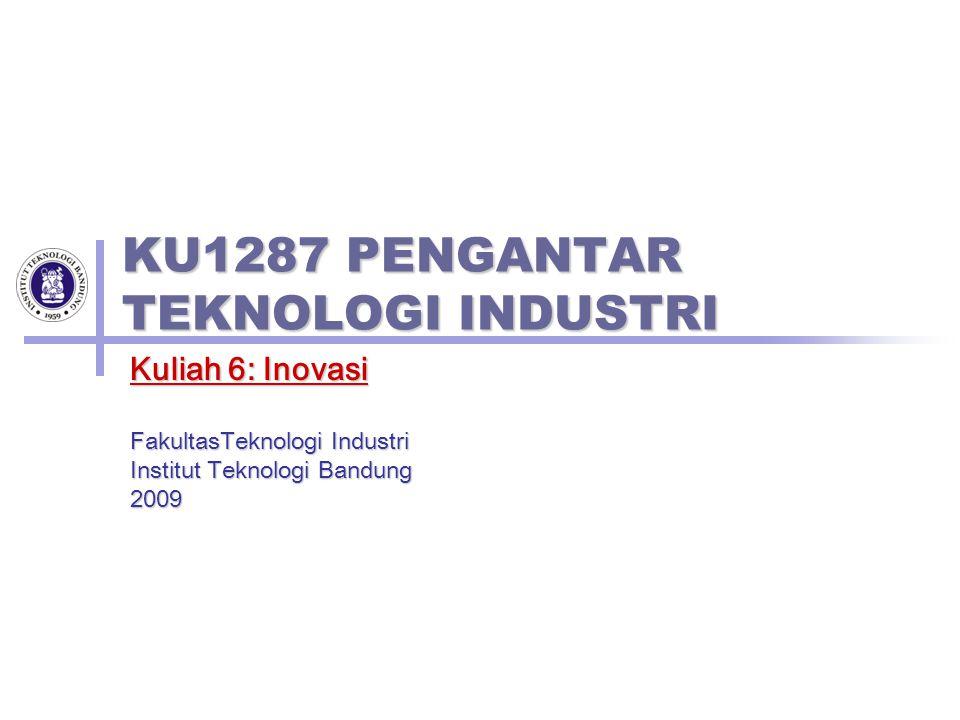 KU1287 PENGANTAR TEKNOLOGI INDUSTRI Kuliah 6: Inovasi FakultasTeknologi Industri Institut Teknologi Bandung 2009