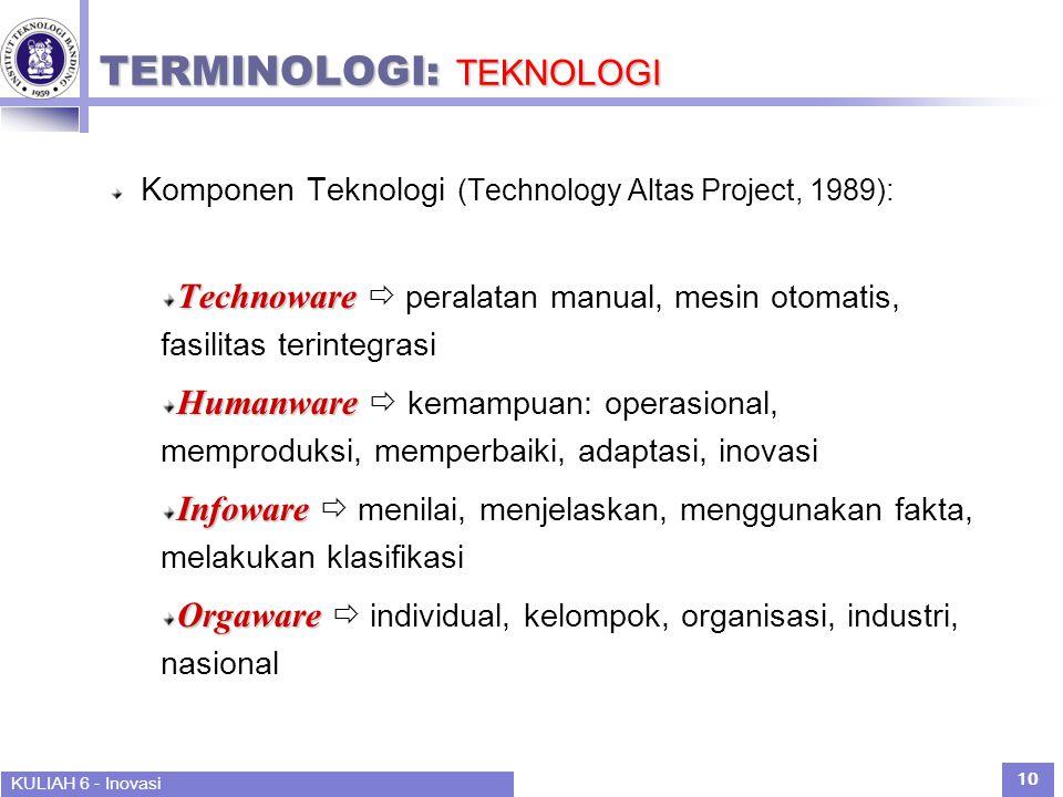 KULIAH 6 - Inovasi 10 TERMINOLOGI: TEKNOLOGI Komponen Teknologi (Technology Altas Project, 1989): Technoware Technoware  peralatan manual, mesin otomatis, fasilitas terintegrasi Humanware Humanware  kemampuan: operasional, memproduksi, memperbaiki, adaptasi, inovasi Infoware Infoware  menilai, menjelaskan, menggunakan fakta, melakukan klasifikasi Orgaware Orgaware  individual, kelompok, organisasi, industri, nasional