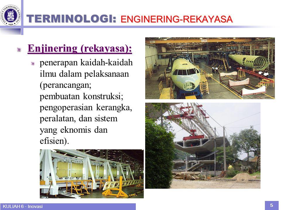KULIAH 6 - Inovasi 5 TERMINOLOGI: ENGINERING-REKAYASA Enjinering (rekayasa): penerapan kaidah-kaidah ilmu dalam pelaksanaan (perancangan; pembuatan konstruksi; pengoperasian kerangka, peralatan, dan sistem yang eknomis dan efisien).